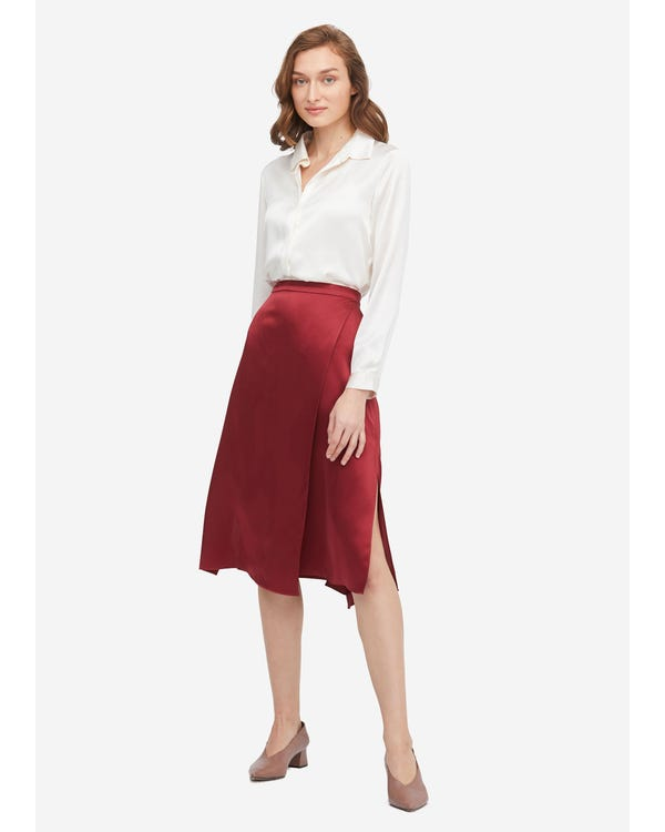 Graceful and Body-flattering Silk Midi Skirt