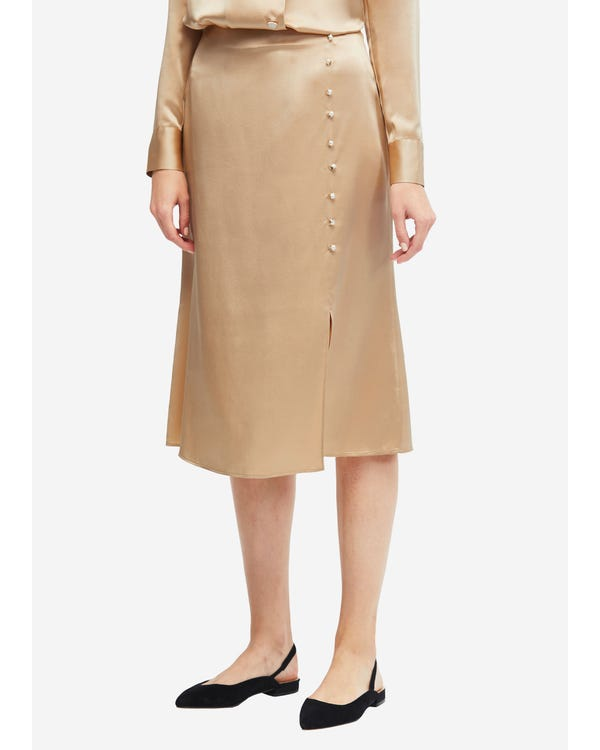 お洒落 折裾 シルク スカート マキシスカート