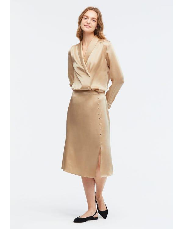 お洒落 折裾 シルク スカート マキシスカート-hover
