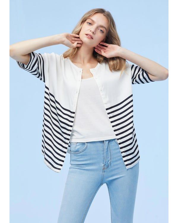 カラー切り替え シルクTシャツ