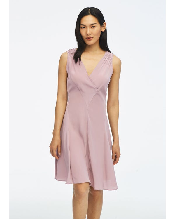 Unique Cutting Silk Dress With Smocking Shoulder-hover