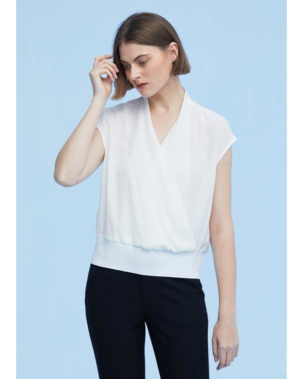 上品 シルクTシャツ オーバーラップフロント