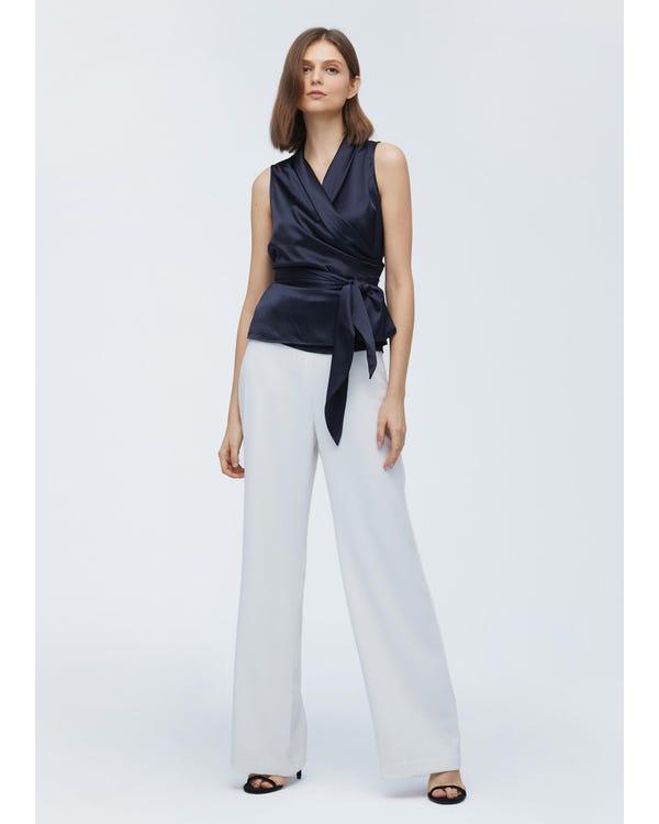 Women Elegant Silk Wrap Blouse-hover