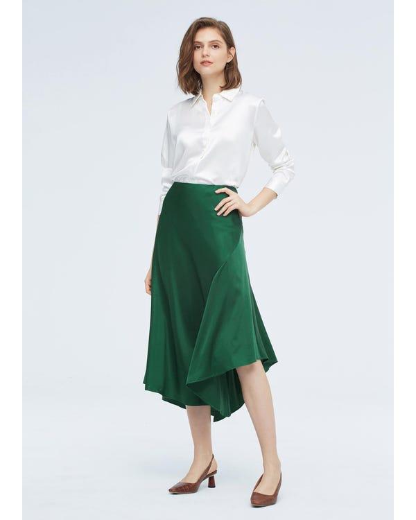 シック不規則裾シルクスカート-hover