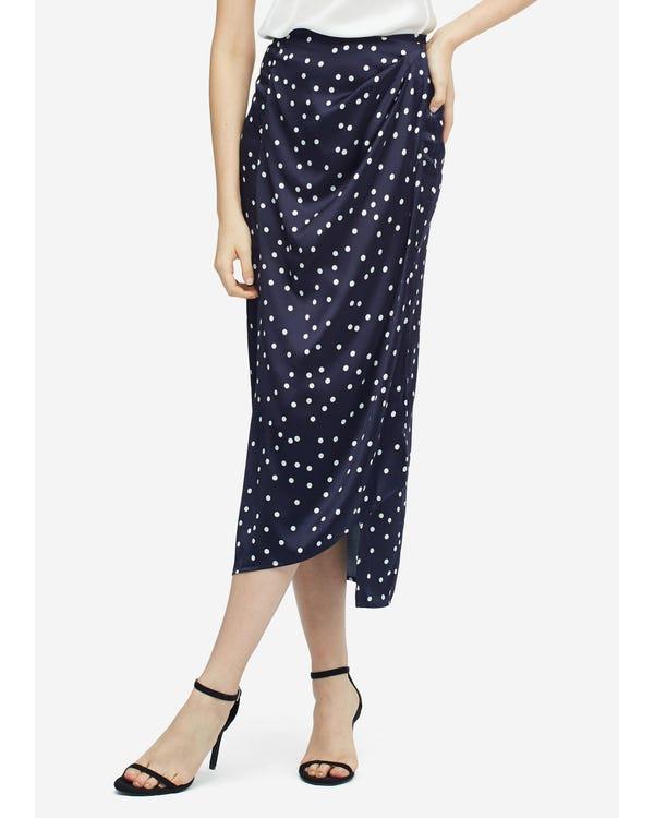 魅力的 不規則裾プリーツ シルクスカート