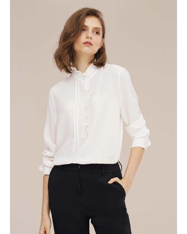 Romantic Stand Collar Silk Shirt-hover