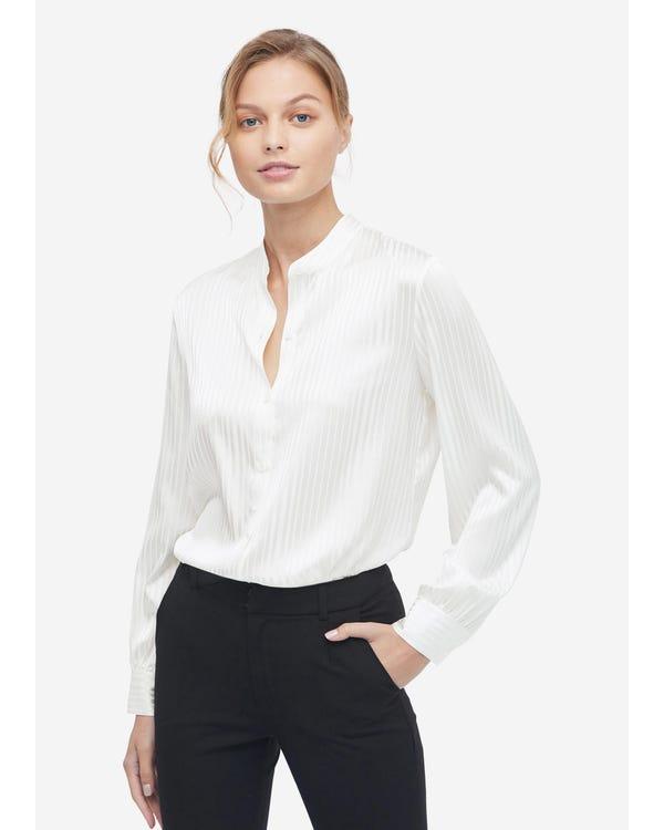Mandarin Collar Striped Silk Shirt