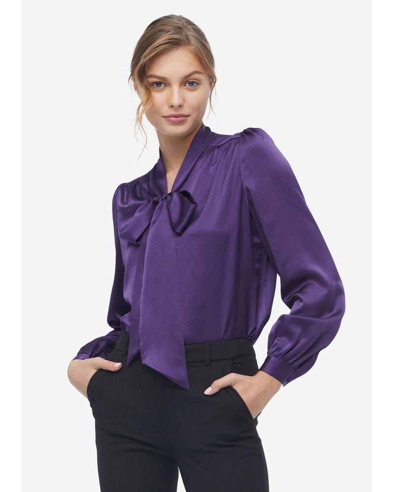 Concise Silk Bow Tie Blouse