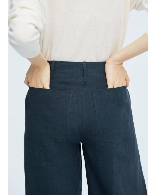 女性 カジュアル リネン ワイドパンツ ガチョウパンツ