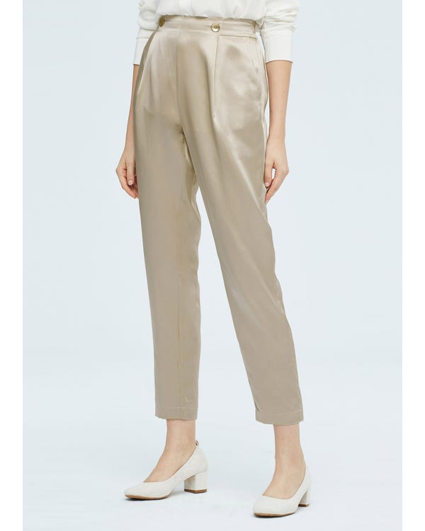 Women Elegant Elastic Waist Silk Pants-hover