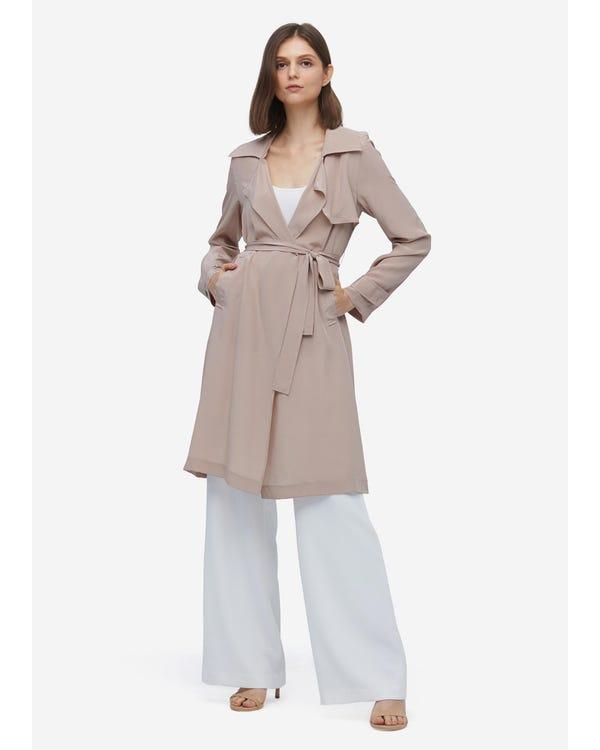 Elegant Womens Long Silk Trench Coat