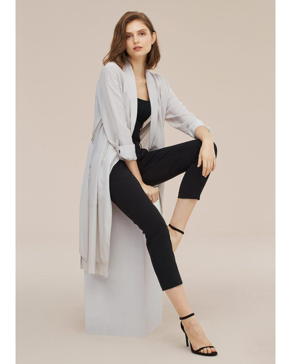 Women Mid-length Solid Color Silk Trench Coat