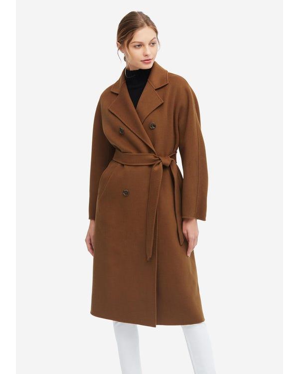暖かい 長袖ウールコート