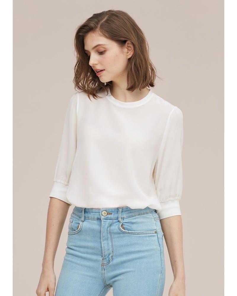カジュアル リブ加工カフス シルクTシャツ