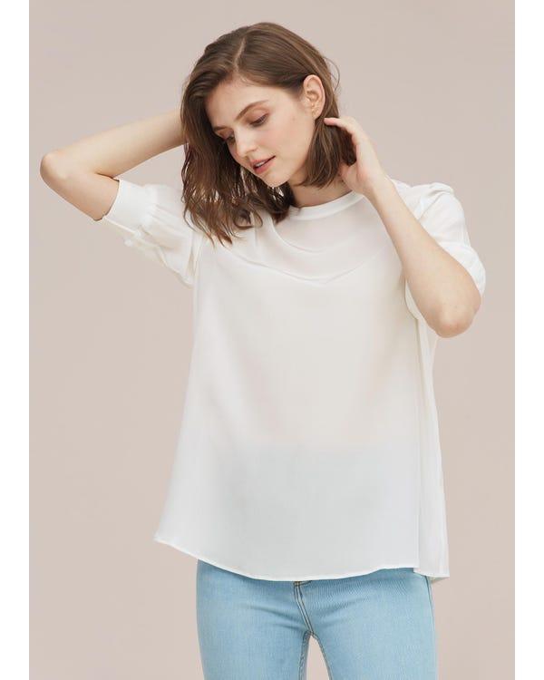 カジュアル リブ加工カフス シルクTシャツ-hover