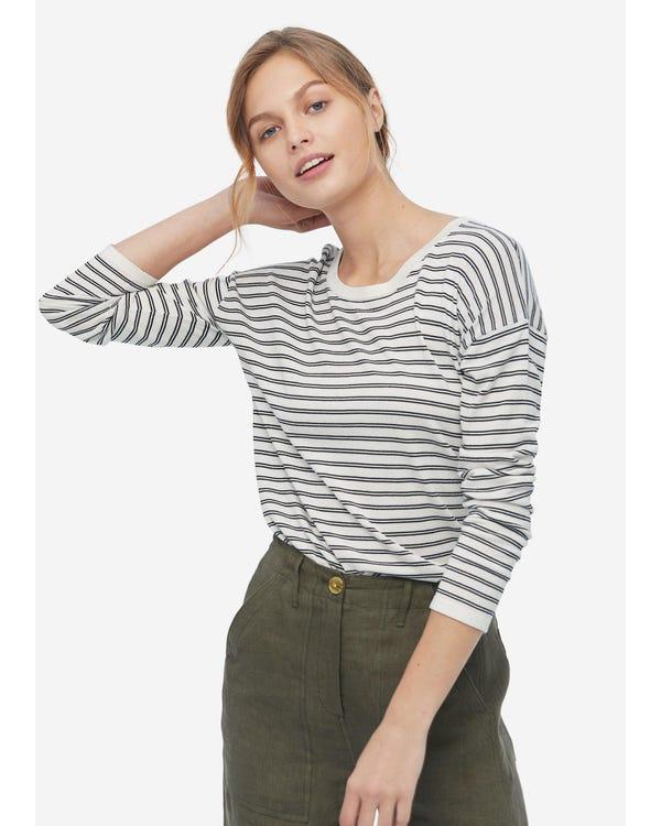 レディース 黒と白 ストライプ柄 シルクTシャツ