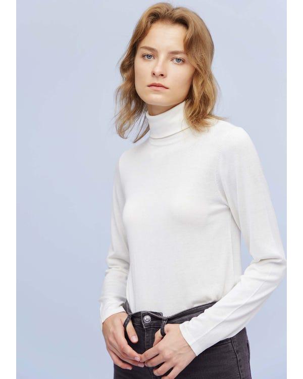 「返品交換不可」上品 無地タートルネック長袖シルクニットtシャツ L