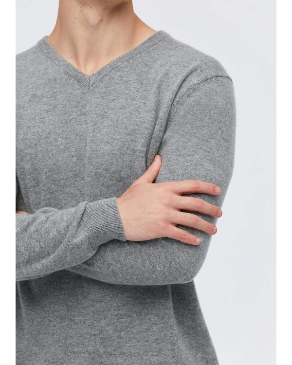 「返品交換不可」メンズ Vネック カシミア セーター L-hover