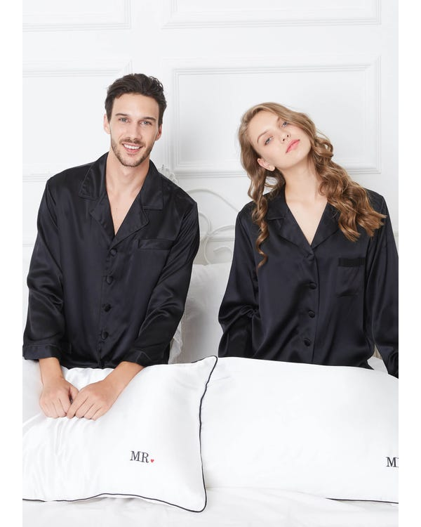 22 Momme Classic Full Length Silk Couple Pajamas Sets-hover
