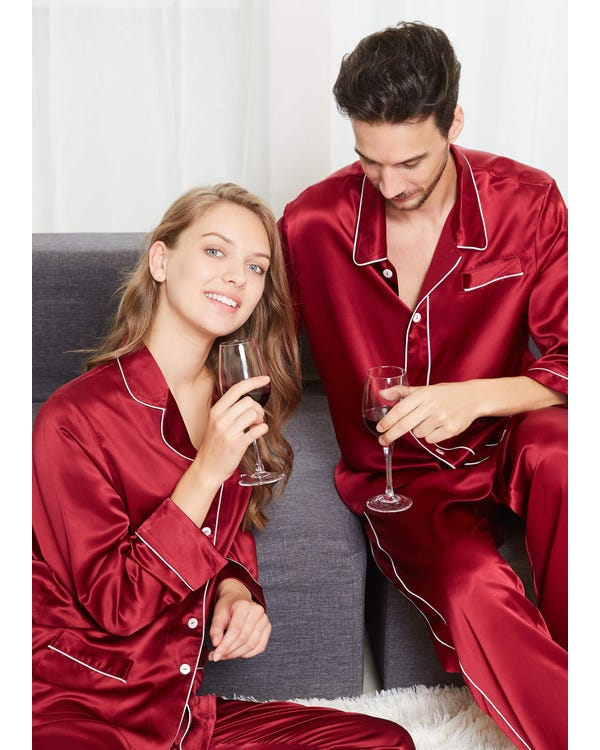 22 Momme Chic Trimmed Silk Couple Pajamas Sets-hover