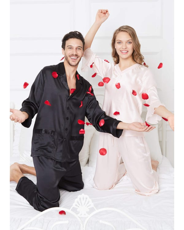 22 Momme Romantic Silk Couple Pajamas Sets-hover