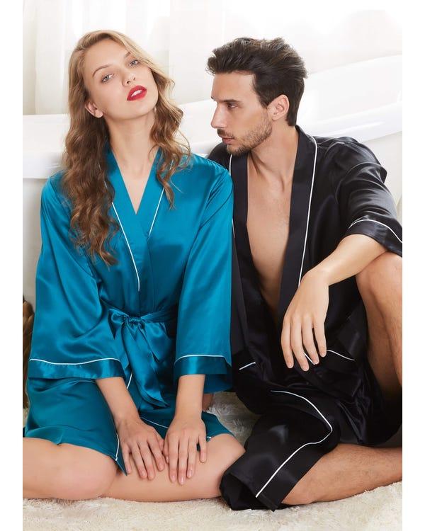 22 Momme Unique Silk Couple Robes