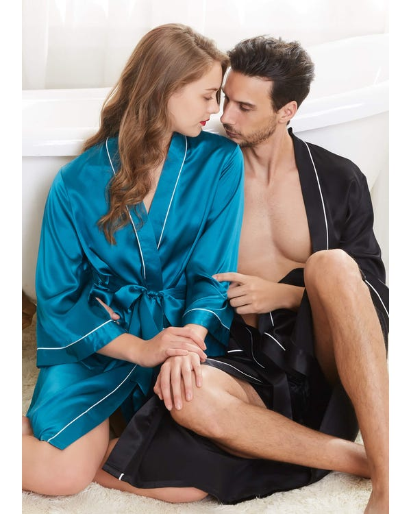 22 Momme Unique Silk Couple Robes-hover