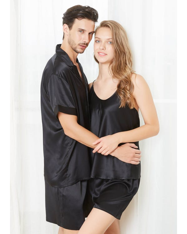 22 Momme Short Silk Couple Pajamas Sets