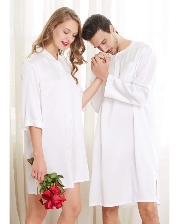 22 Momme Simple Silk Couple Nightshirts