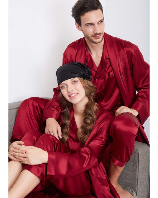 22 Momme Long Sleeve Matching Couples Robe And Pajamas Sets-hover