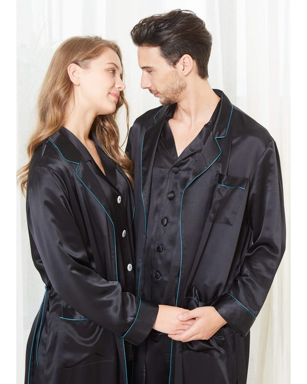 22 Momme Stylish Silk Couple Robe And Pajamas Sets-hover